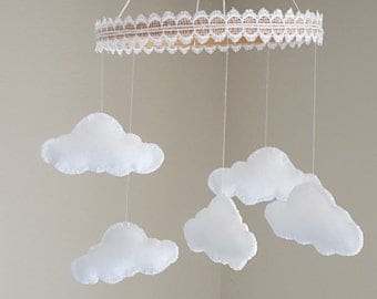 baby nursery mobile white felt cloud mobile with lace trim modern crib mobile
