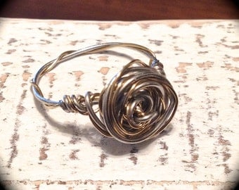 Adoption Fundraiser, Two-tone, wire rose ring
