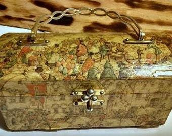 Vintage Anton Pieck Decoupage Wooden Purse