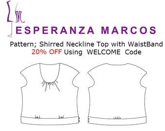 PDF Pattern Shirred Top - Sizes 12, 14, 16, 18. Women's SEWING Pattern  for Silk, Cotton, Polyester,  pdf PATTERN for printing