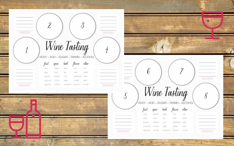 Wine tasting scorecard printable for Wine tasting sheet template