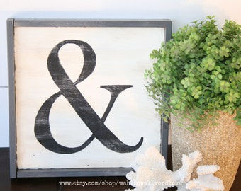 Typography wood ampersand sign, Ampersand sign, & symbol sign, monogram, vintage style wooden sign, letter and number signs, you and me sign