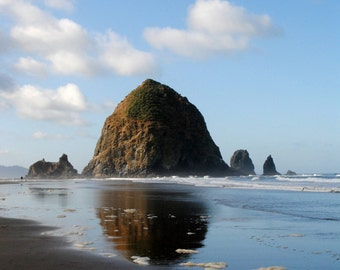 "Haystack Rock Landscape and Reflection in Oregon - ""Cannon Beach"""