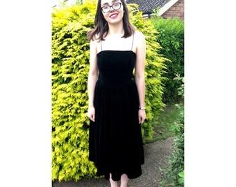 Vintage Black Dress, velvet dress, occasion dress, 70s dress