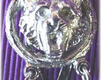 Lions Head Clasps, Long Silver Sweater Guard,