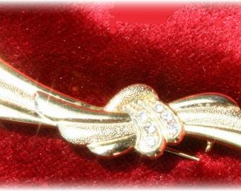 Gold and Crystal Rhinestone Brooch