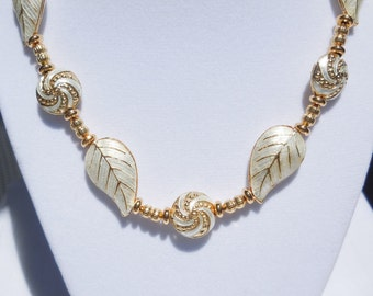 White and gold cloisonne necklace with gold plated brass beads