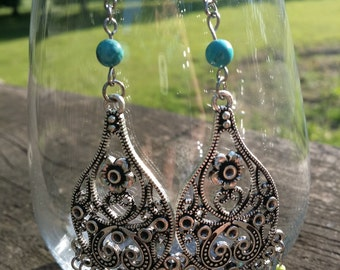 Chandelier earrings , turquoise howlite, blue crystals , lime-green seed beads