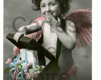 1910 Antique French Post Card - Cupid's Kisses from Paris