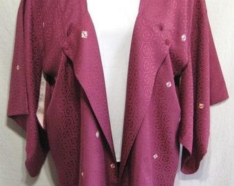 Burgundy Shibori - Modified Vintage Japanese Women's Japanique Jacket Kimono Silk XL