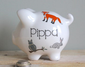 Personalised Piggy Bank for Children Woodland Animals Design / Birthday Gift for Children / Child's Christening Gift