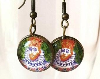 Postage stamp king earrings