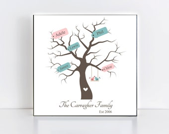 Personalised Family Tree Frame/Plaque. Anniversary Gift Adoption Gift keepsake