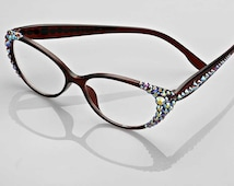 Cat Eye Crystal Detailed Frame Reading Glasses Embellished Glasses Swarovski Crystal Reading Glasses Crystal covered side- Brown STopaz(OFO)