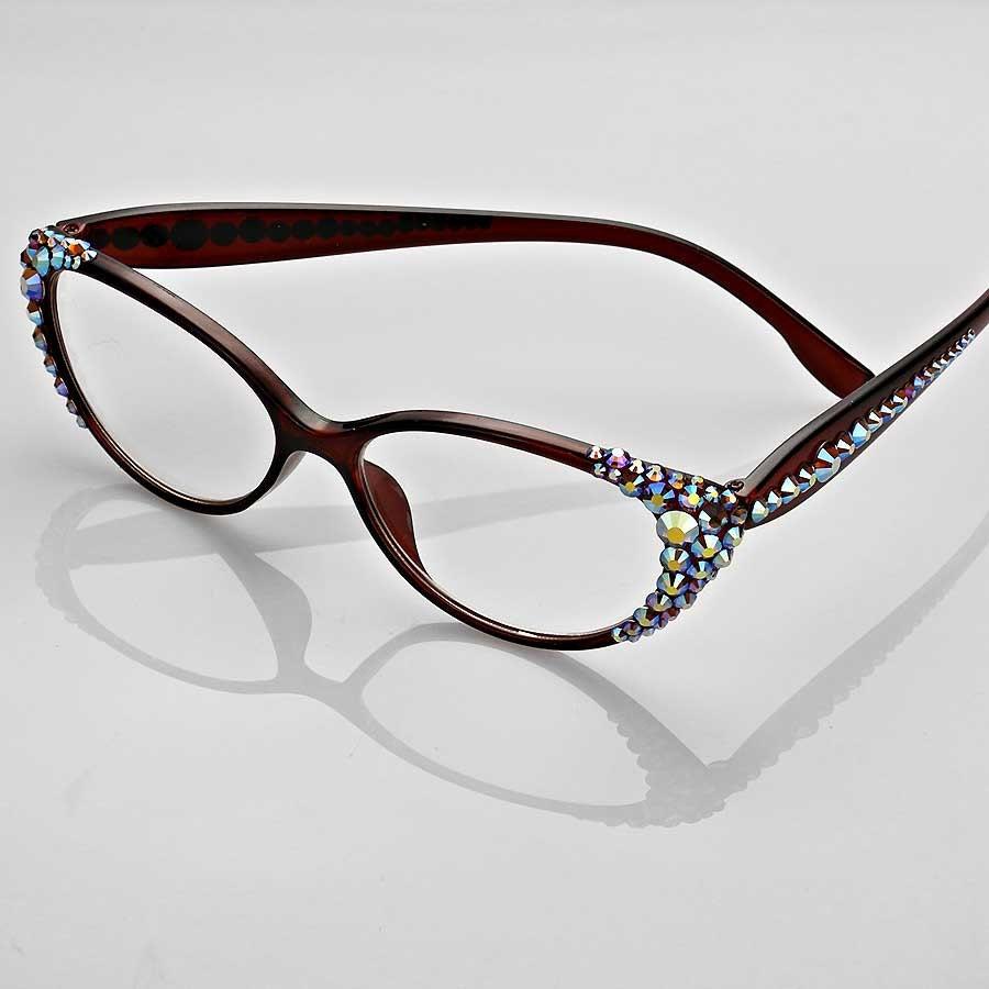 Cat Eye Frame Reading Glasses : Cat Eye Crystal Detailed Frame Reading Glasses by ...