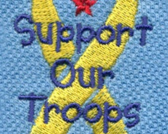 Support Our Troops Yellow Ribbon Military Embroidery Design - Instant Digital Download