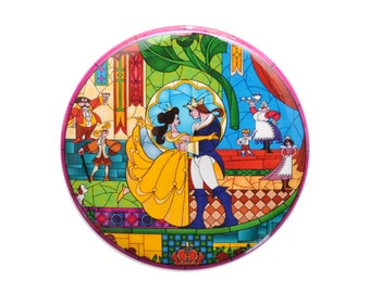 Beauty and the Beast Inspired Stained Glass Button