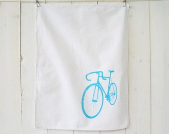 """Bicycle"", light blue dishcloth"