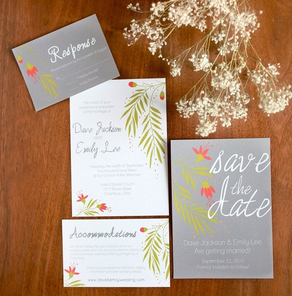 Printable Wedding Invitation Package Template Instant