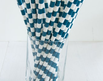 25 Wide Stripe Navy and White Straws