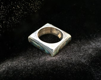 abalone sterling silver ring size 9