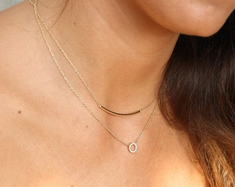 tube necklace- bar necklace- LINE GOLD necklace - silver necklace - tiny line necklace - geometric necklace-minimal jewelry-silver jewelry