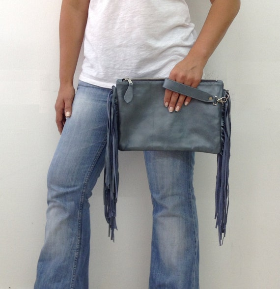 Chic Leather Clutch with Fringes Blue Metallic Medium Evening Envelop OLA Olaccessories FREE SHIPPING