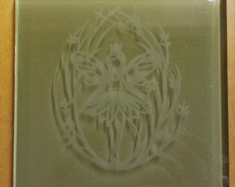 Fairy etched in glass block