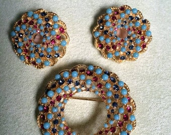 Vintage, Sarah Coventry, Rhinestone and Bead Brooch and Matching Clip-On Earrings