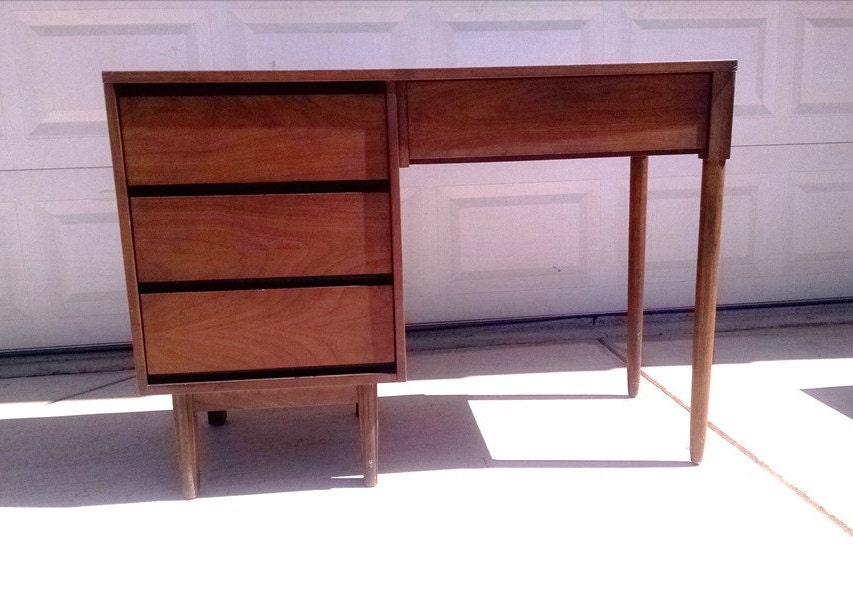 High Quality Mid Century Eames Era DESK,The L.A. Period Furniture Company,Danish Style  4 Drawer Desk, Vintage, 1960s