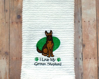 I Love My German Shepard- German Shepard Kitchen Towel- I Love Dogs- Dog Tea Towel- I Love My Dog- Gift for the Dog Lover- Custom Embroidery