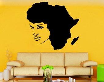Girl Wall Vinyl Decal African Girl Wall Vinyl Sticker Home Decor (31angl)