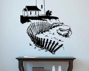 Lighthouse Wall Vinyl Decal Beacon Wall Vinyl Sticker Nautical Decals Home Decor Bathroom Decor (22lse)