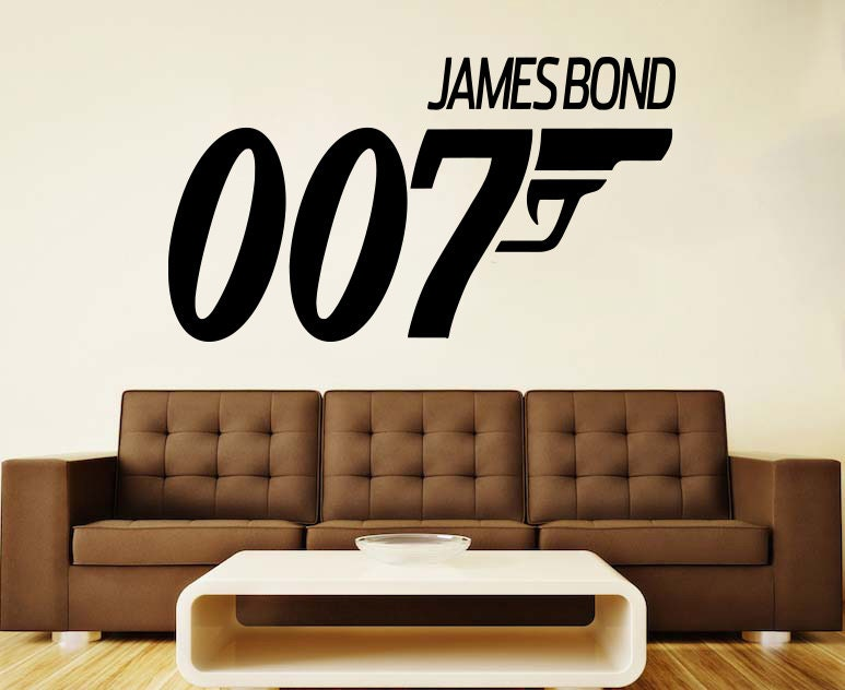 james bond wall vinyl decal agent 007 wall vinyl sticker. Black Bedroom Furniture Sets. Home Design Ideas