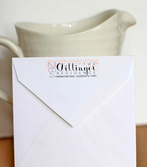 Custom Return Address Label Polka Dot Calligraphy Return