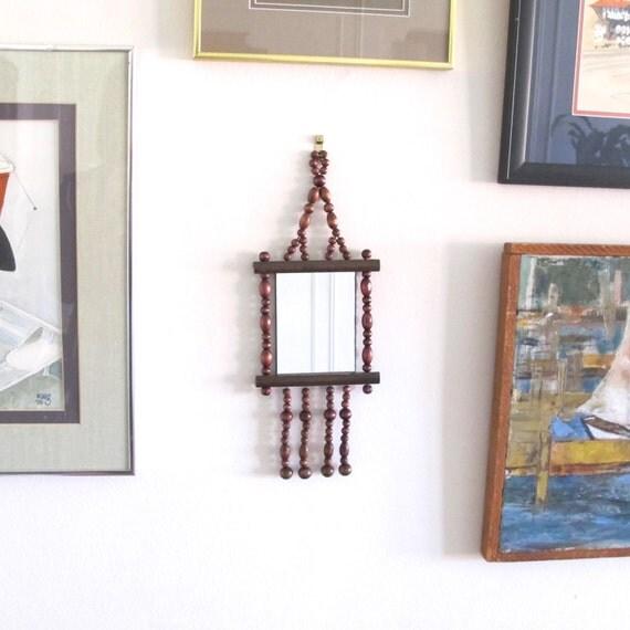 Vintage 1970s Small Wooden Beaded Mirror Boho Home Decor
