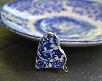 Broken china jewelry- broken china heart pendant,-blue and white broken china pendant- side hanging heart pendant
