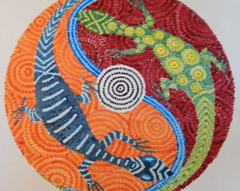 Yin and Yang Lizards  Acrylic Dot Painting 20 by 20