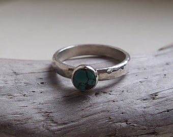 Sterling Silver and Turquoise Ring. Hammered texture with natural turquoise. Custom made.