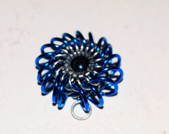 Royal Blue Whirlybird Chainmaille Pendant with Black Pearl ** Other colors available**