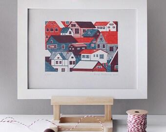 "Limited Edition Hand Printed ""Houses"" Linocut Print. Home Decor, Wall Art, Illustration Gift"
