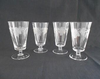 Vintage Bohemia Crystal Hock Glasses Grapevine Pattern 1970's  #00007
