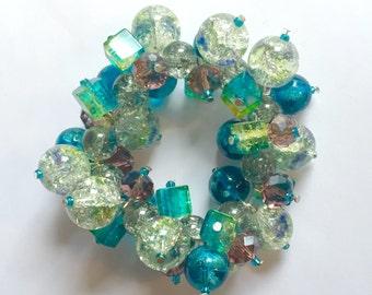 Blue & Green Cluster Bracelet