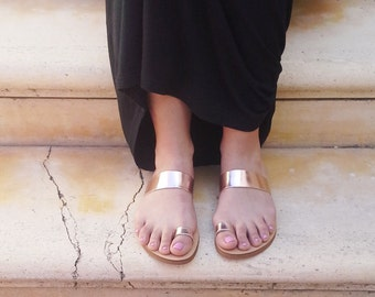 Handmade Leather Sandals in Rose gold leather