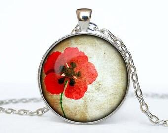 Poppy necklace Poppy pendant red Poppy jewelry