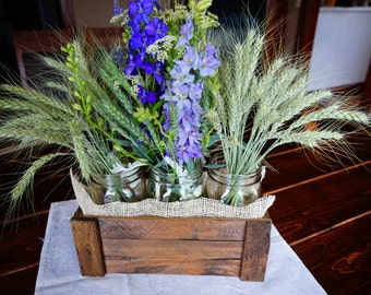 Rustic Wooden Centerpiece Box with Mason Jars and Burlap Accent
