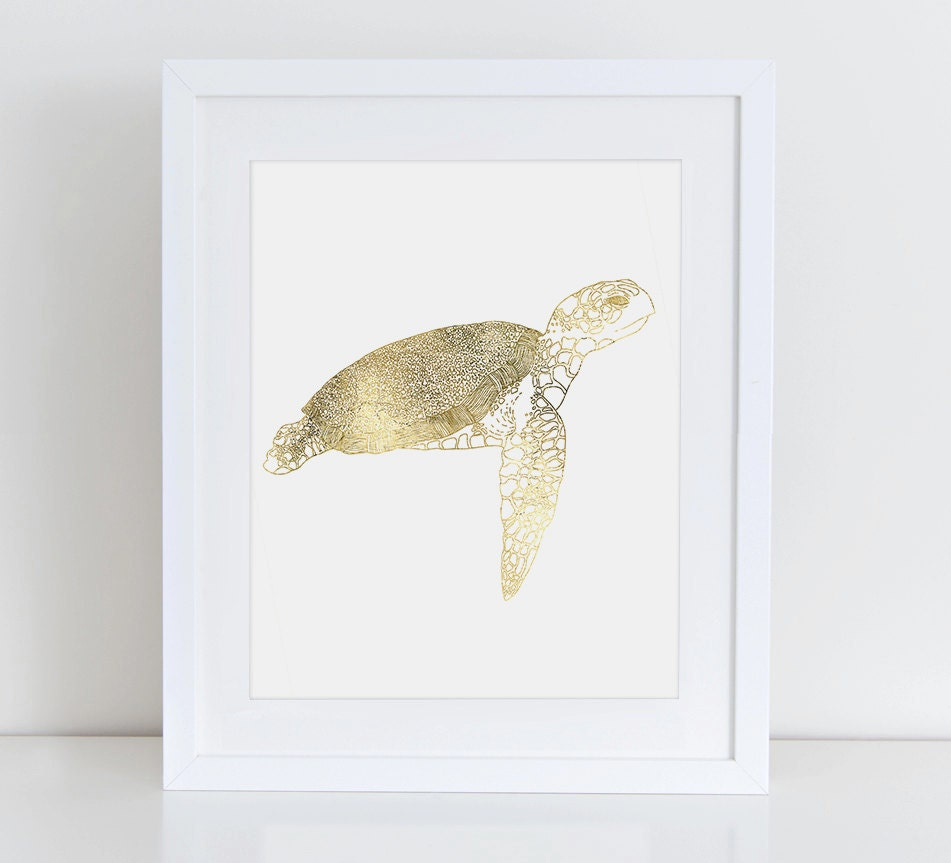 Sea Turtle Decor Sea Turtle Print Gold Foil By