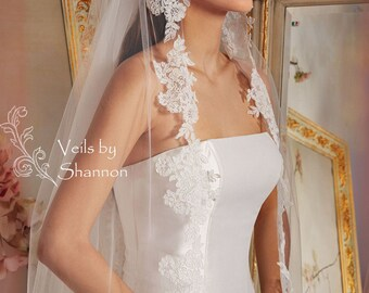 Long Lace Veil in Cathedral Length, 1 Layer Cathedral Lace Wedding Veils, Lace Bridal Veils, Cathedral Lace Veils,Lace Veil Style V12A