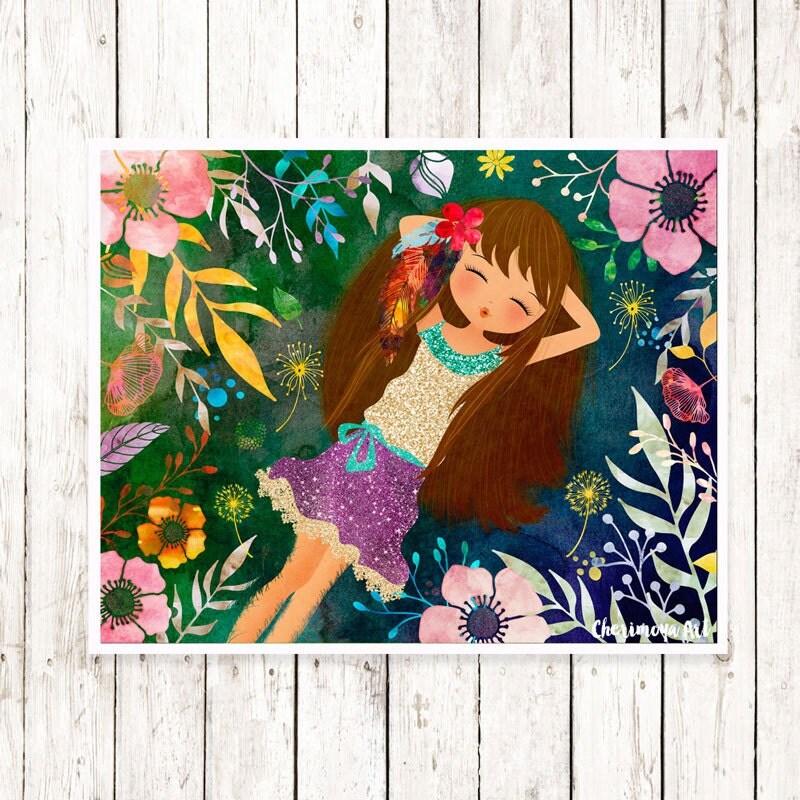 Etsy Girl Nursery Wall Decor : Girl wall art print flower nursery decor
