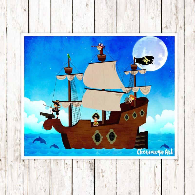 Pirate Wall Art Boys Room Art Nautical Decor For Boys Room